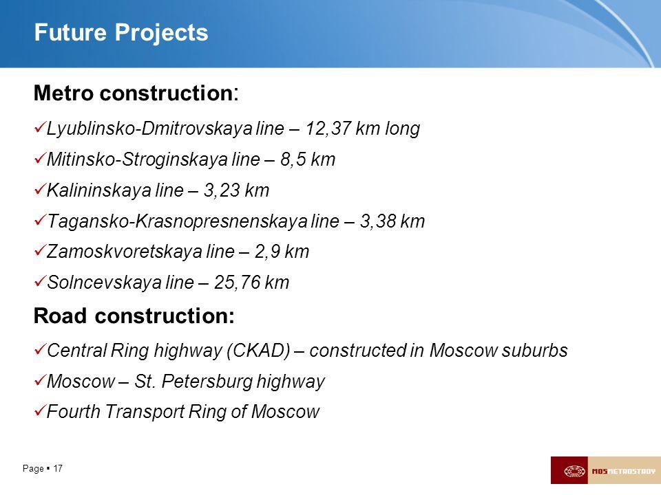 Page 17 Future Projects Metro construction : Lyublinsko-Dmitrovskaya line – 12,37 km long Mitinsko-Stroginskaya line – 8,5 km Kalininskaya line – 3,23