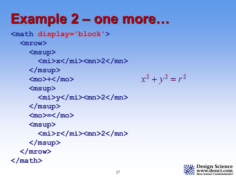 27 Example 2 – one more… x 2 + y 2 = r 2