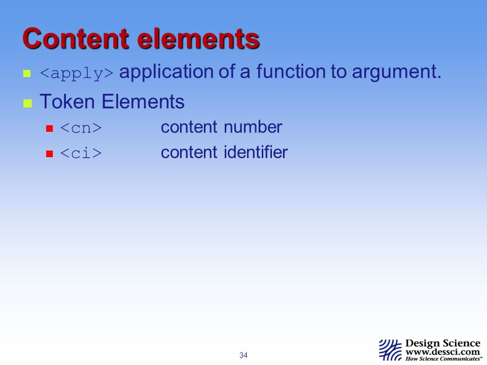 34 Content elements application of a function to argument.