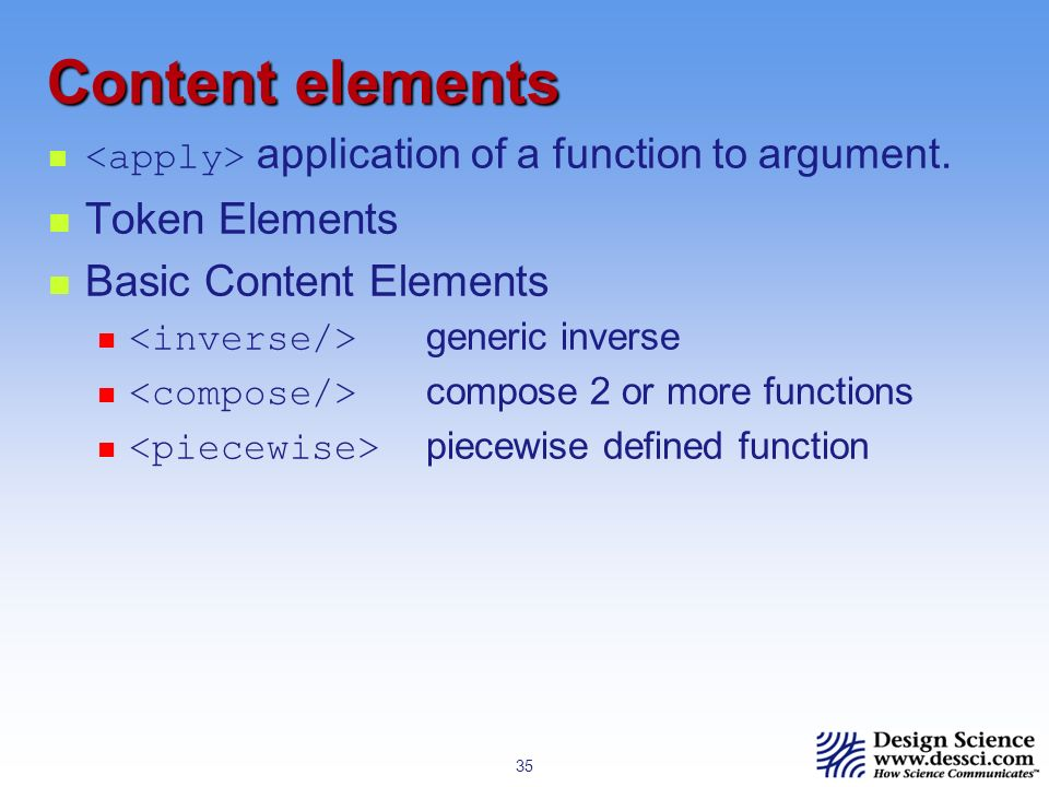 35 Content elements application of a function to argument.
