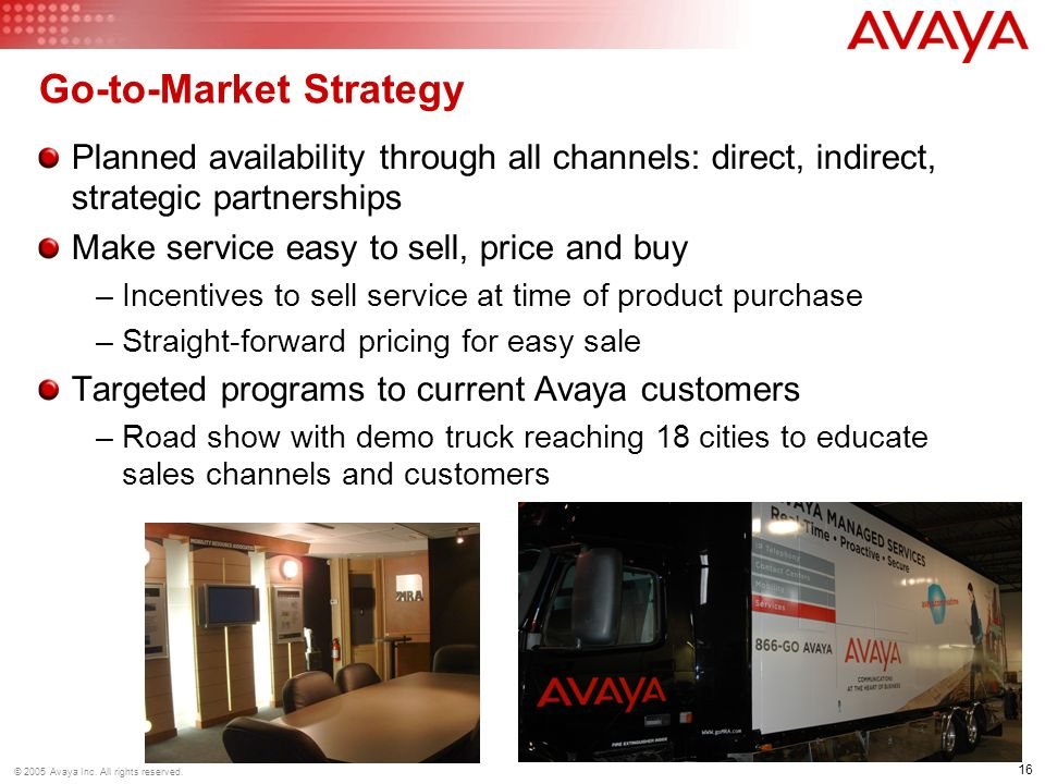 16 © 2005 Avaya Inc. All rights reserved.