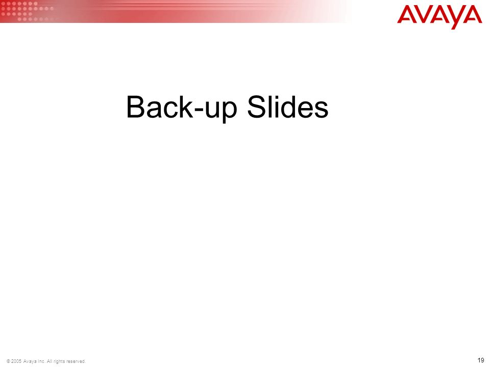 19 © 2005 Avaya Inc. All rights reserved. Back-up Slides