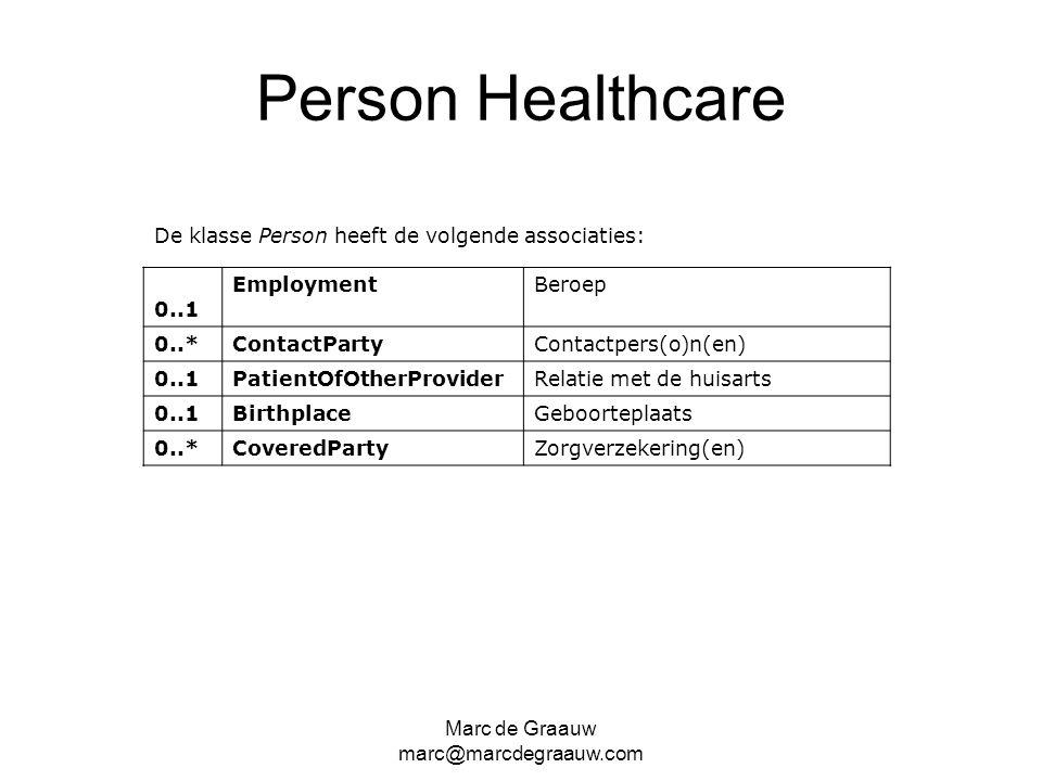 Marc de Graauw marc@marcdegraauw.com Person Healthcare De klasse Person heeft de volgende associaties: 0..1 EmploymentBeroep 0..*ContactParty Contactp