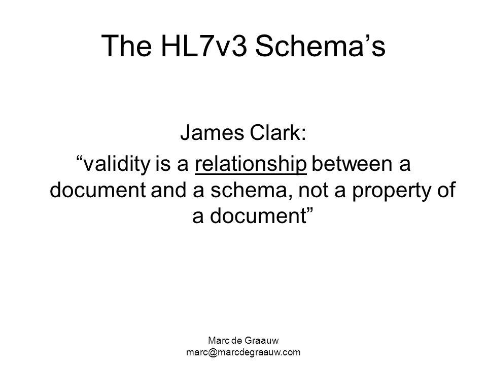 Marc de Graauw marc@marcdegraauw.com The HL7v3 Schemas James Clark: validity is a relationship between a document and a schema, not a property of a do