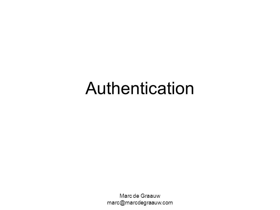 Marc de Graauw marc@marcdegraauw.com Authentication