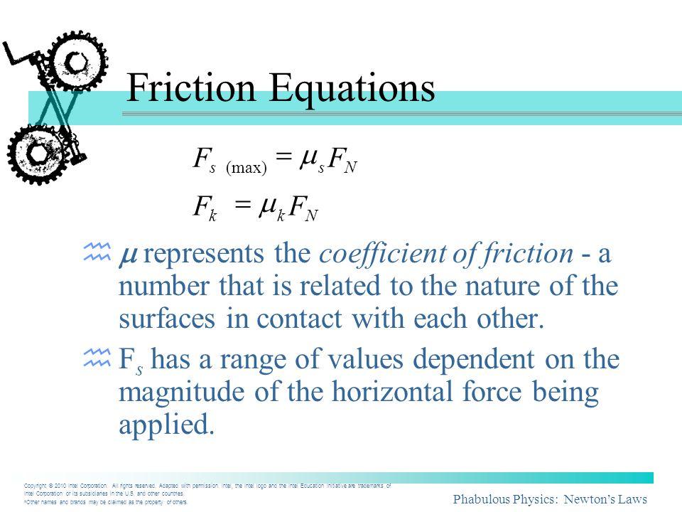 Phabulous Physics: Newtons Laws Nkg F mgFF m k kNkk 59 8.