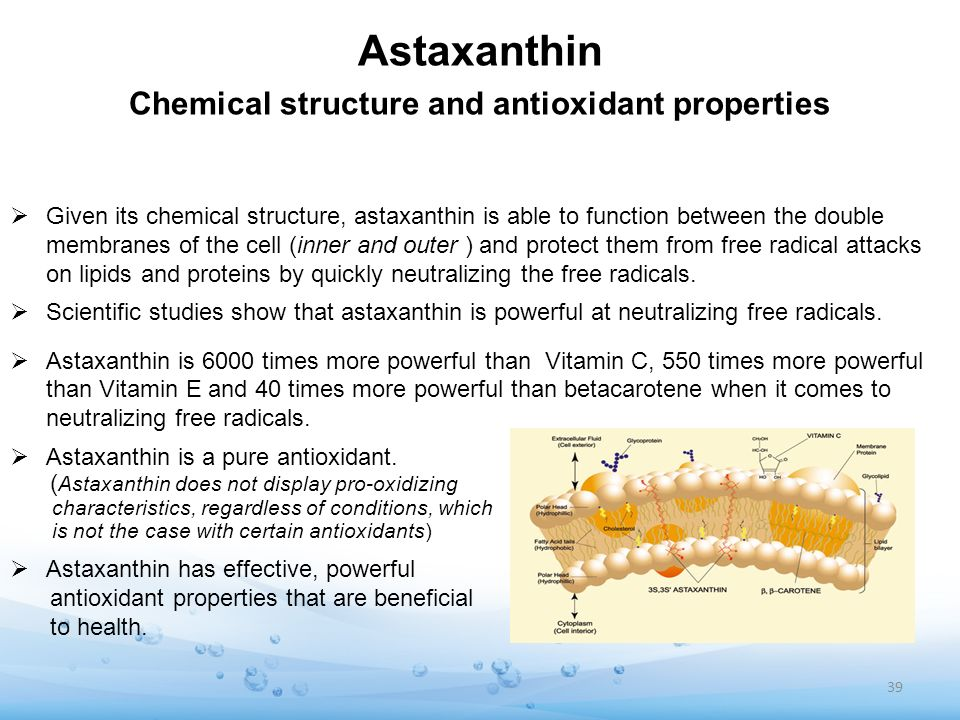 Astaxanthin Chemical structure and antioxidant properties Given its chemical structure, astaxanthin is able to function between the double membranes o