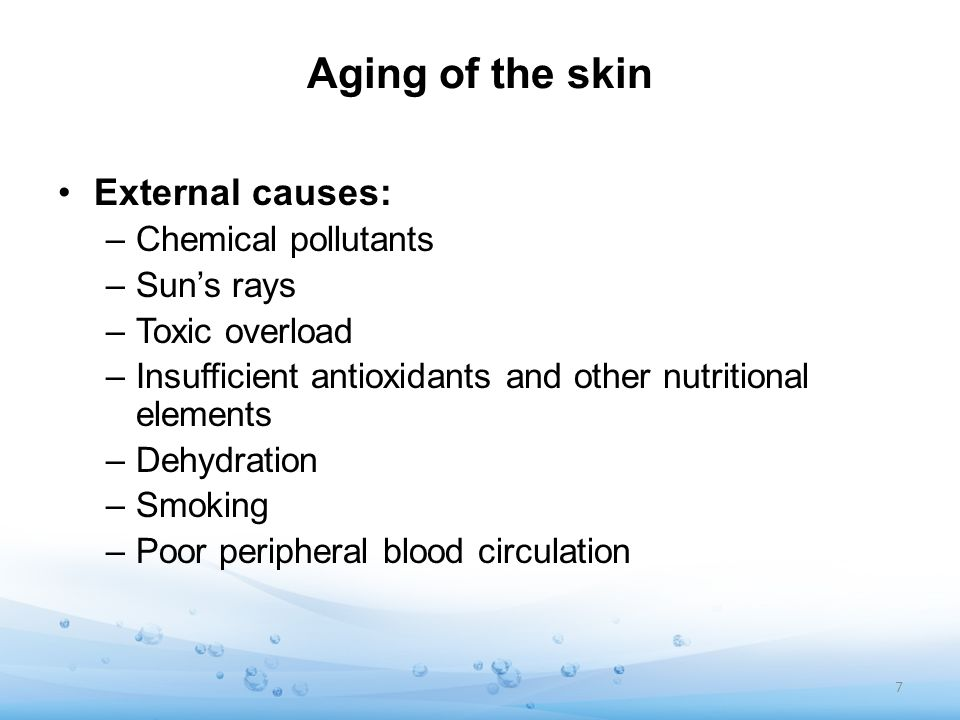Aging of the skin External causes: –Chemical pollutants –Suns rays –Toxic overload –Insufficient antioxidants and other nutritional elements –Dehydrat