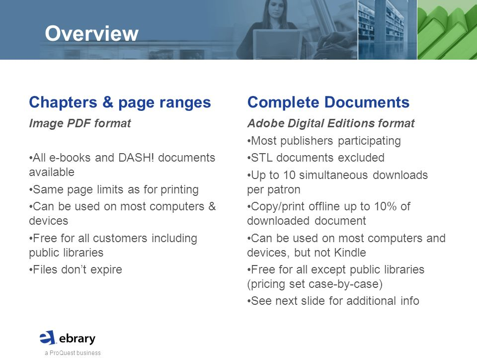 a ProQuest business Overview Chapters & page ranges Image PDF format All e-books and DASH.