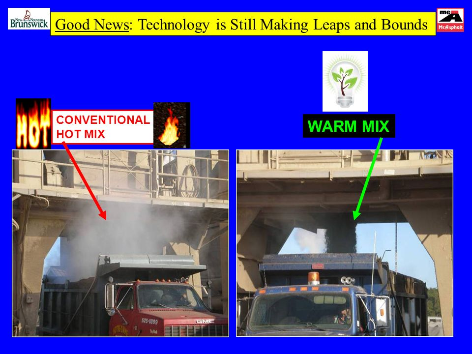 CONVENTIONAL HOT MIX WARM MIX Good News: Technology is Still Making Leaps and Bounds
