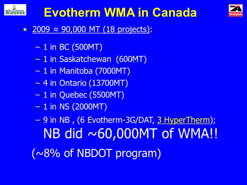 Evotherm WMA in Canada 2009 90,000 MT (18 projects): –1 in BC (500MT) –1 in Saskatchewan (600MT) –1 in Manitoba (7000MT) –4 in Ontario (13700MT) –1 in Quebec (5500MT) –1 in NS (2000MT) –9 in NB, (6 Evotherm-3G/DAT, 3 HyperTherm); NB did ~60,000MT of WMA!.