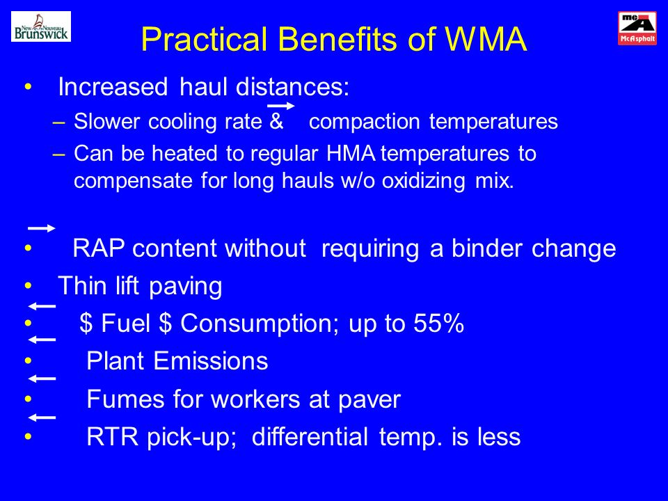 Practical Benefits of WMA Increased haul distances: –Slower cooling rate & compaction temperatures –Can be heated to regular HMA temperatures to compensate for long hauls w/o oxidizing mix.