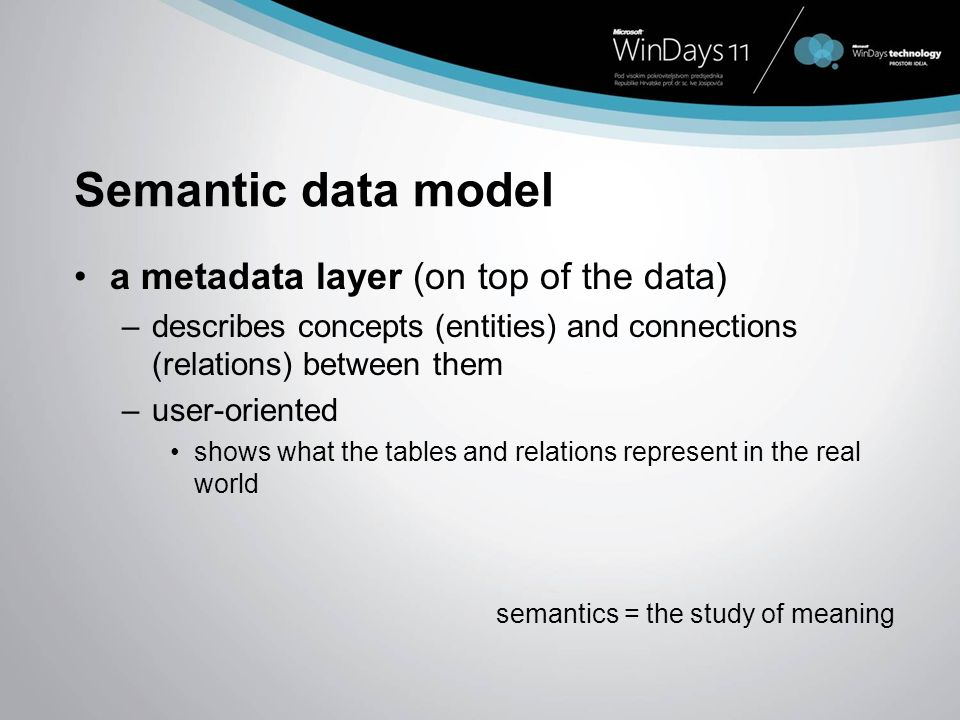 Semantic data model a metadata layer (on top of the data) –describes concepts (entities) and connections (relations) between them –user-oriented shows
