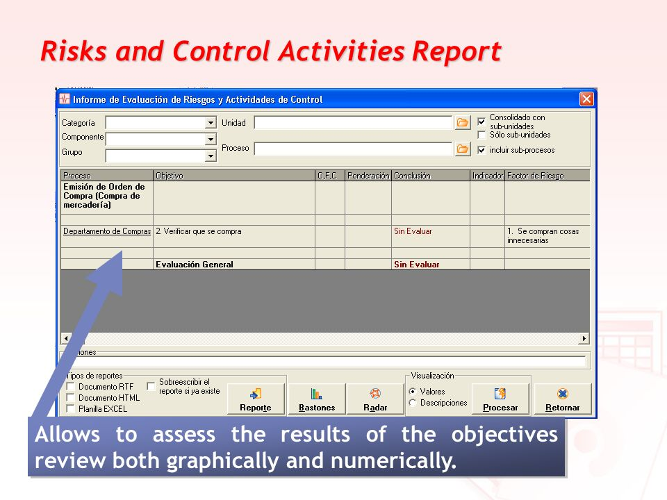 Risks and Control Activities Report Allows to assess the results of the objectives review both graphically and numerically.