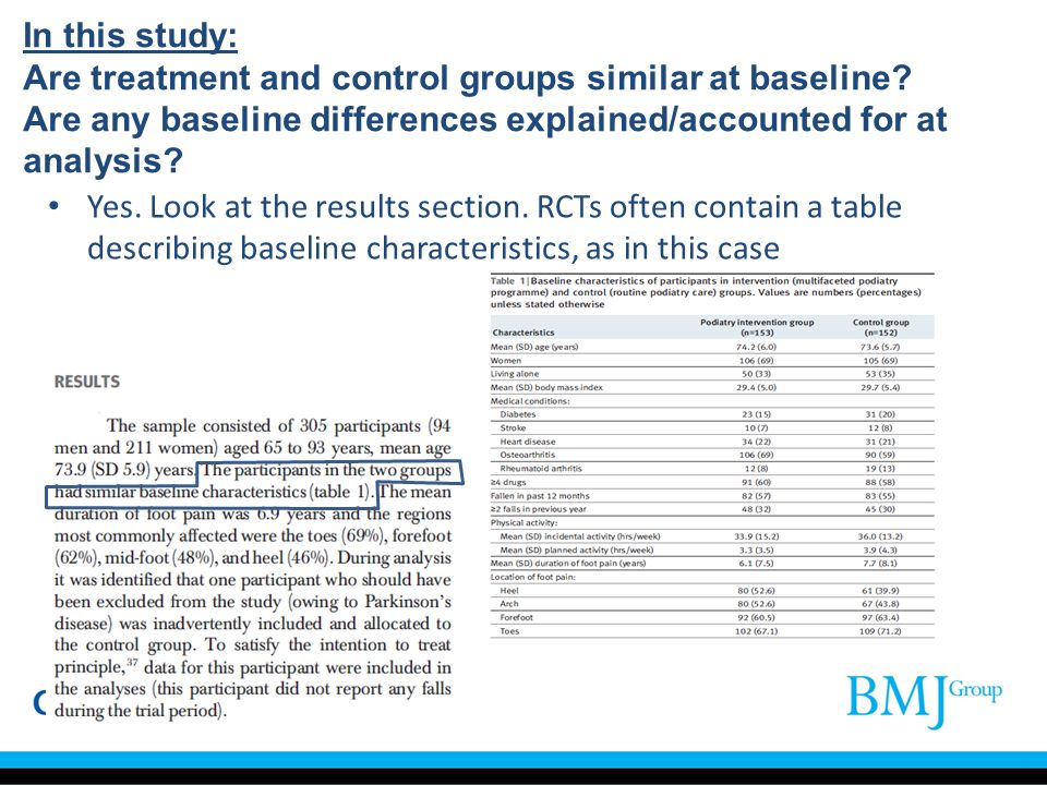 In this study: Are treatment and control groups similar at baseline? Are any baseline differences explained/accounted for at analysis? Yes. Look at th