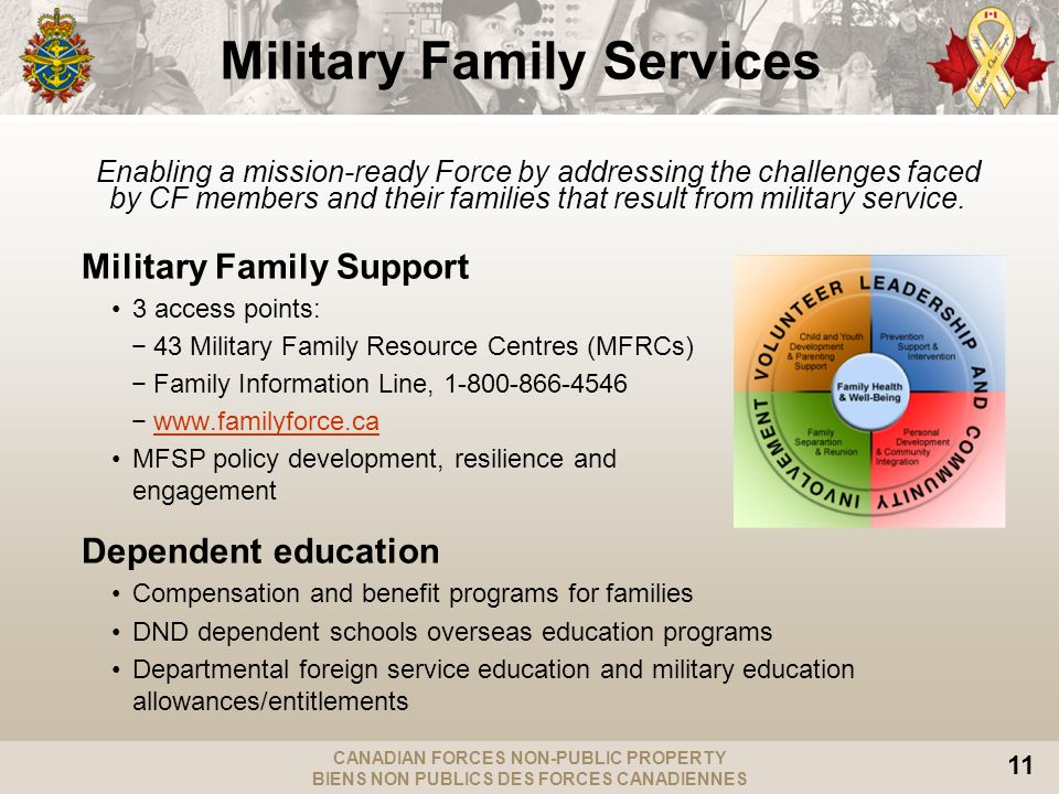 CANADIAN FORCES NON-PUBLIC PROPERTY BIENS NON PUBLICS DES FORCES CANADIENNES 11 Military Family Services Enabling a mission-ready Force by addressing the challenges faced by CF members and their families that result from military service.