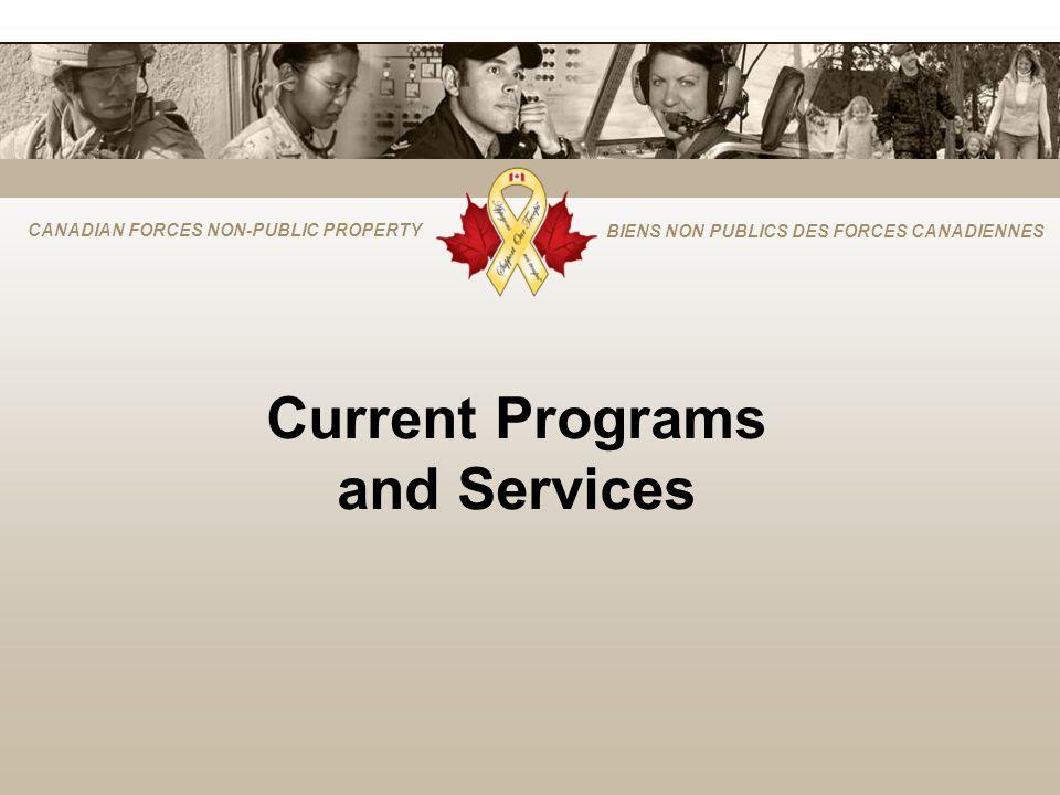 CANADIAN FORCES NON-PUBLIC PROPERTY BIENS NON PUBLICS DES FORCES CANADIENNES Current Programs and Services