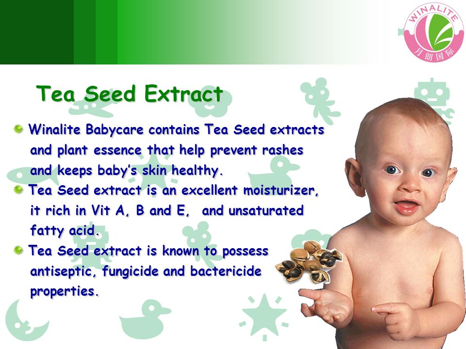 Tea Seed Extract Winalite Babycare contains Tea Seed extracts Winalite Babycare contains Tea Seed extracts and plant essence that help prevent rashes