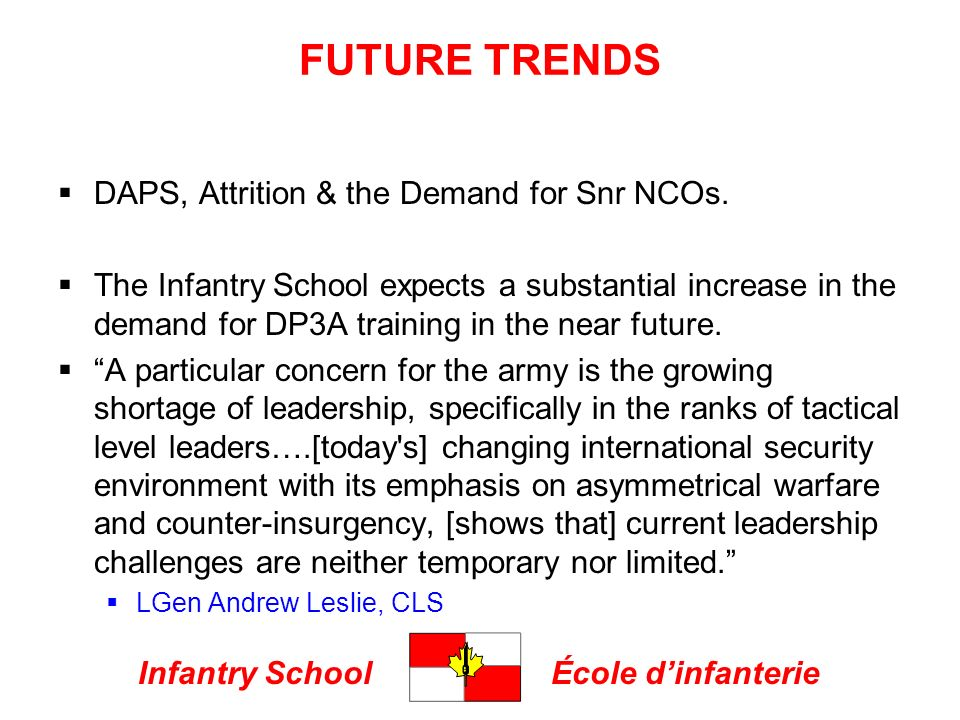 Infantry SchoolÉcole dinfanterie FUTURE TRENDS DAPS, Attrition & the Demand for Snr NCOs.