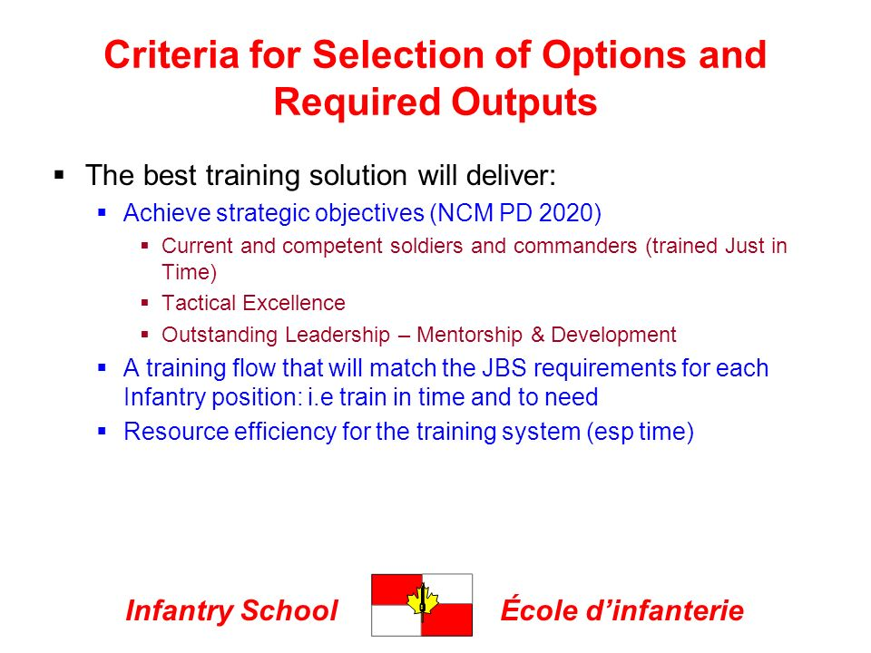 Infantry SchoolÉcole dinfanterie Criteria for Selection of Options and Required Outputs The best training solution will deliver: Achieve strategic objectives (NCM PD 2020) Current and competent soldiers and commanders (trained Just in Time) Tactical Excellence Outstanding Leadership – Mentorship & Development A training flow that will match the JBS requirements for each Infantry position: i.e train in time and to need Resource efficiency for the training system (esp time)