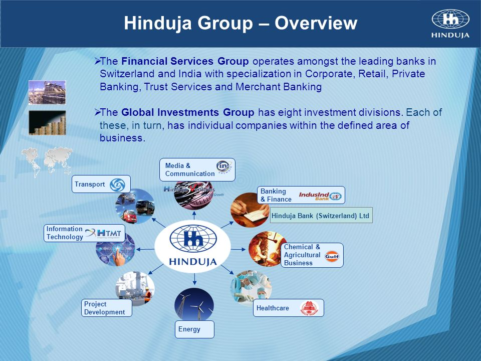 Hinduja Group – Overview The Financial Services Group operates amongst the leading banks in Switzerland and India with specialization in Corporate, Re