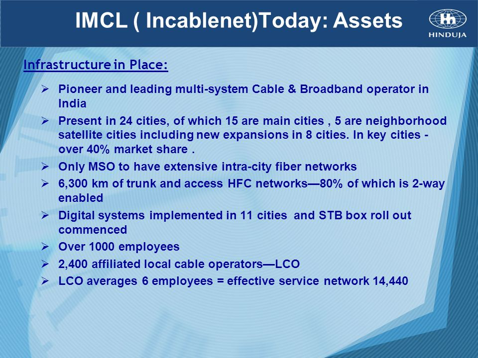 IMCL ( Incablenet)Today: Assets Pioneer and leading multi-system Cable & Broadband operator in India Present in 24 cities, of which 15 are main cities