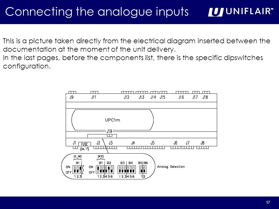 17 Connecting the analogue inputs This is a picture taken directly from the electrical diagram inserted between the documentation at the moment of the