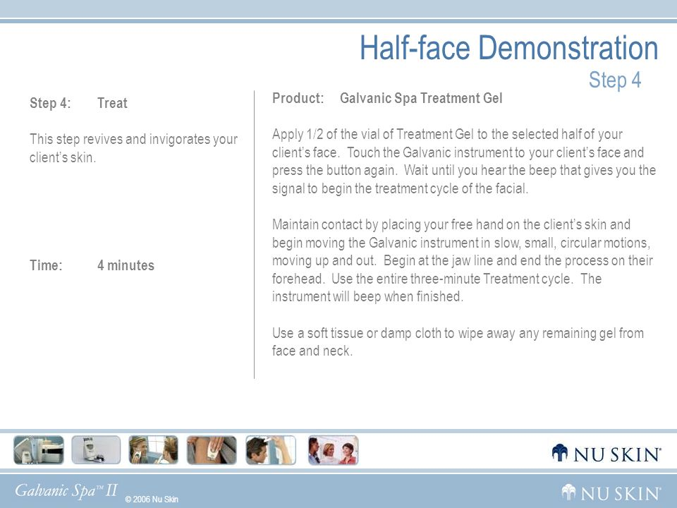 © 2006 Nu Skin GelsWhat Makes Us UniqueGalvanic HistoryDemoUsage Half-face Demonstration Step 5 Step 5: See the Difference Dull skin will be revived.