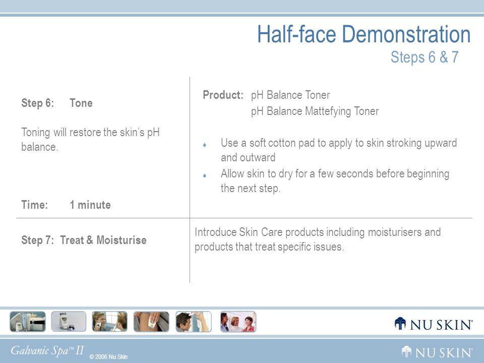 © 2006 Nu Skin GelsWhat Makes Us UniqueGalvanic HistoryDemoUsage Step 7: Treat & Moisturise Introduce Skin Care products including moisturisers and pr