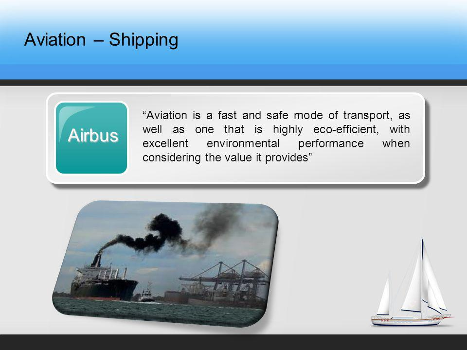Aviation – ShippingAirbus Aviation is a fast and safe mode of transport, as well as one that is highly eco-efficient, with excellent environmental performance when considering the value it provides