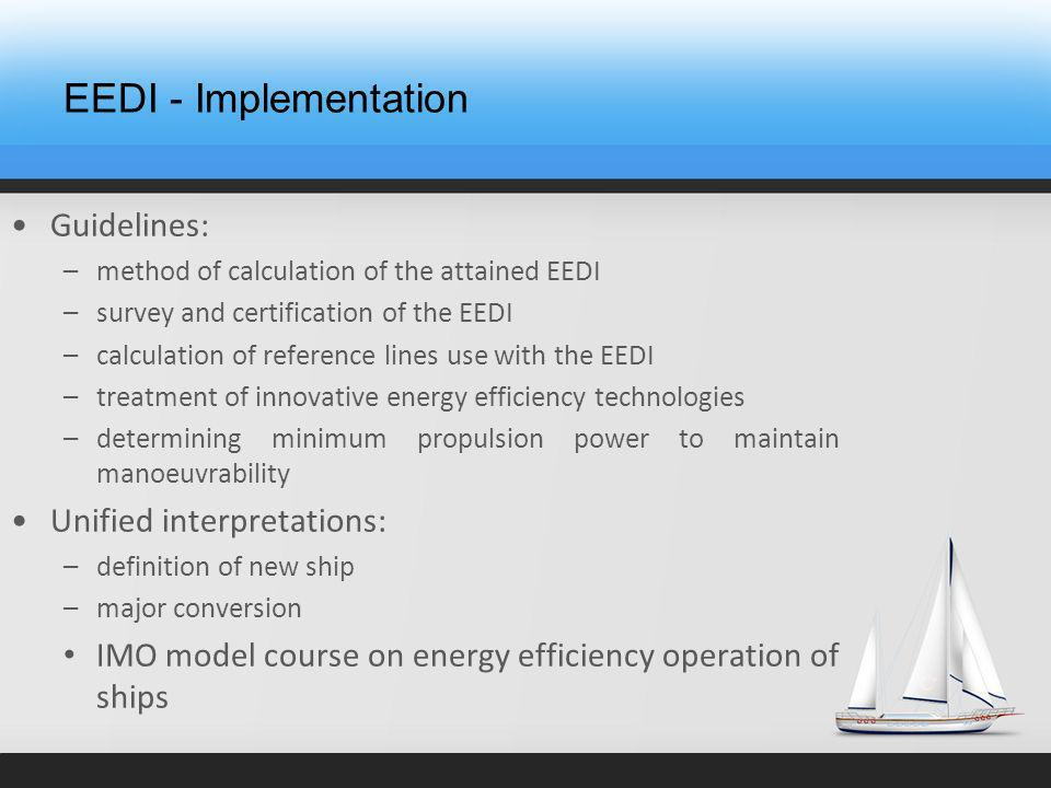 EEDI - Implementation Guidelines: –method of calculation of the attained EEDI –survey and certification of the EEDI –calculation of reference lines use with the EEDI –treatment of innovative energy efficiency technologies –determining minimum propulsion power to maintain manoeuvrability Unified interpretations: –definition of new ship –major conversion IMO model course on energy efficiency operation of ships