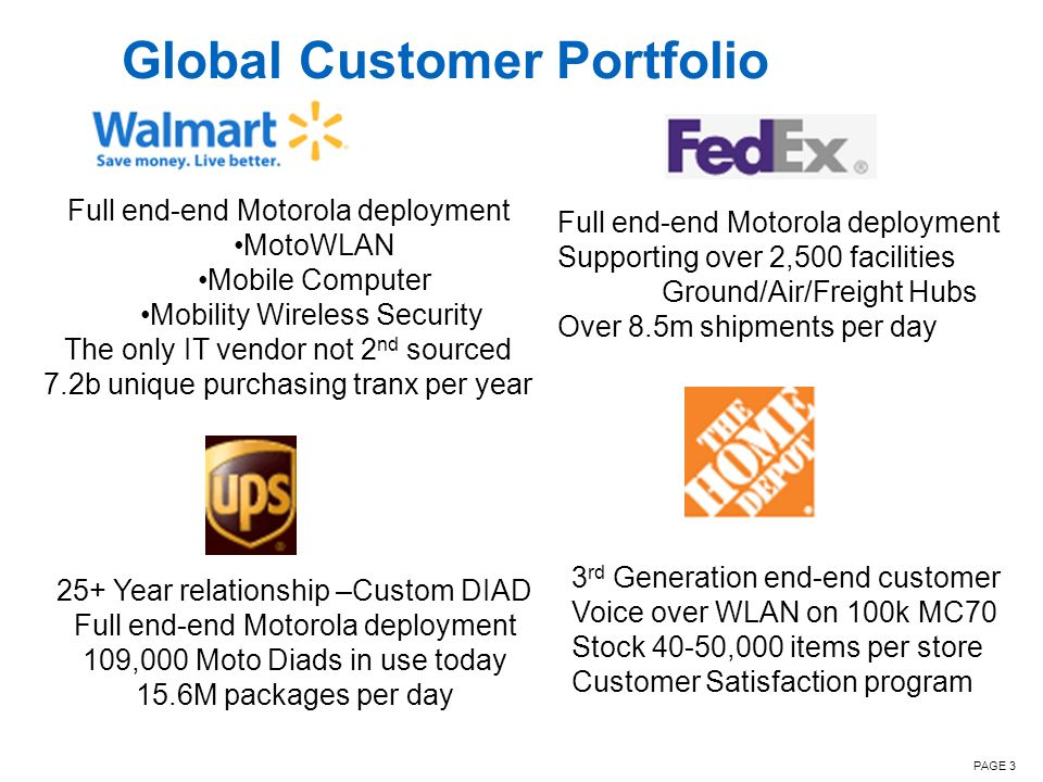 PAGE 3 Global Customer Portfolio Full end-end Motorola deployment MotoWLAN Mobile Computer Mobility Wireless Security The only IT vendor not 2 nd sour