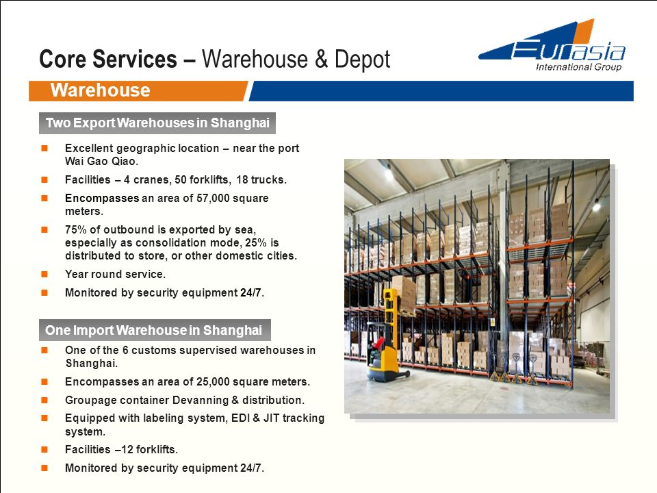 Core Services – Warehouse & Depot Warehouse Two Export Warehouses in Shanghai Excellent geographic location – near the port Wai Gao Qiao. Facilities –