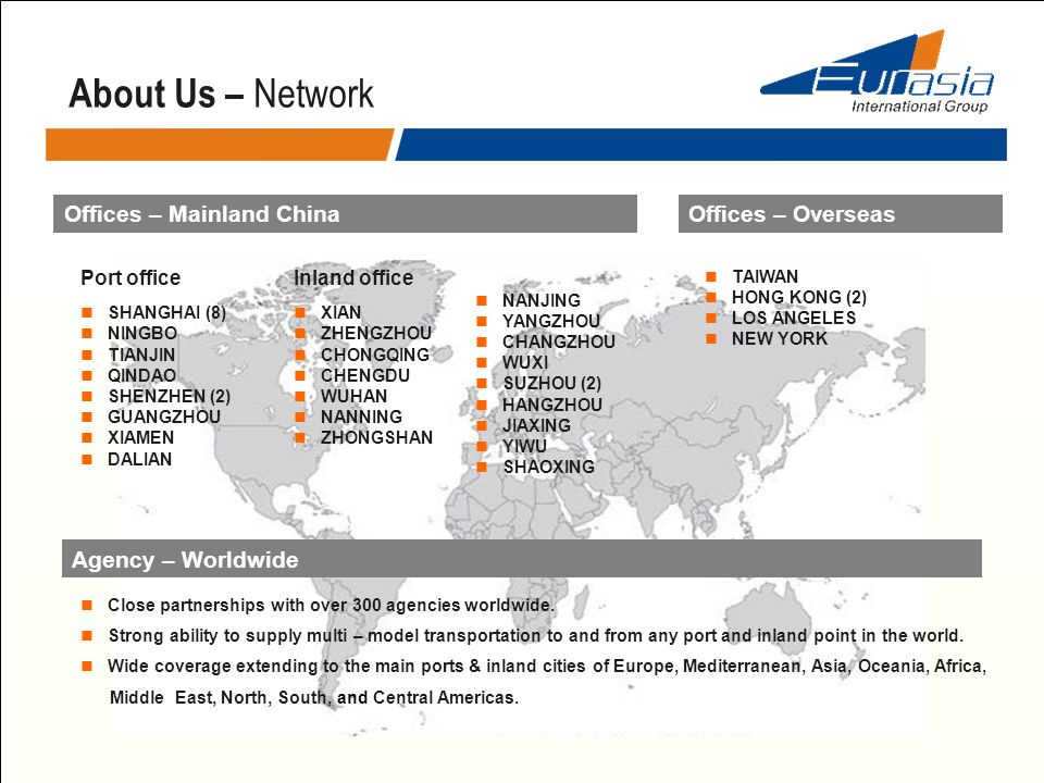 About Us – Network Offices – Mainland ChinaOffices – Overseas TAIWAN HONG KONG (2) LOS ANGELES NEW YORK Port office SHANGHAI (8) NINGBO TIANJIN QINDAO
