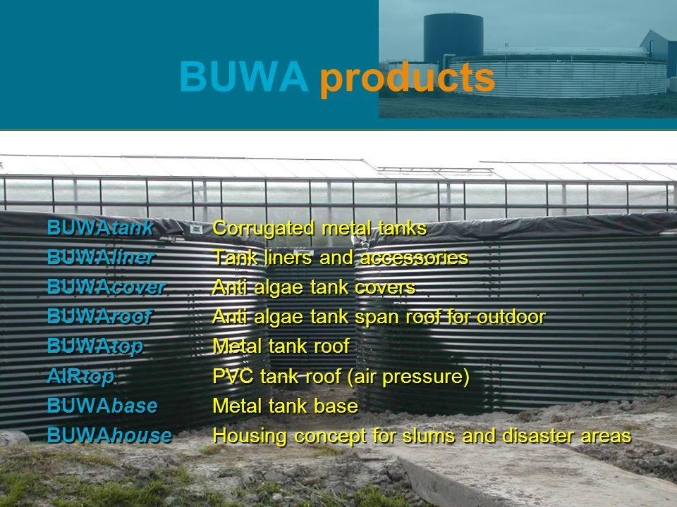BUWAtank BUWA products BUWAtankCorrugated metal tanks BUWAlinerTank liners and accessories BUWAcoverAnti algae tank covers BUWAroofAnti algae tank spa