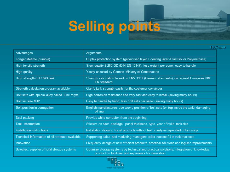 BUWAtank Selling points AdvantagesArguments Longer lifetime (durable)Duplex protection system (galvanised layer + coating layer (Plastisol or Polyuret