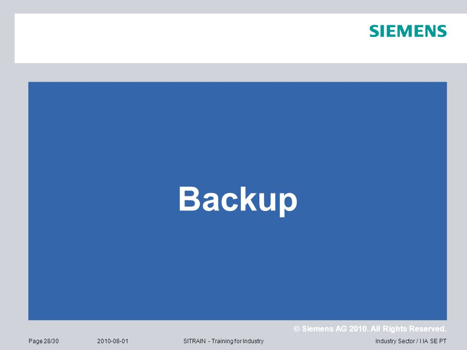 © Siemens AG 2010. All Rights Reserved. Industry Sector / I IA SE PTPage 28/302010-08-01SITRAIN - Training for Industry Backup