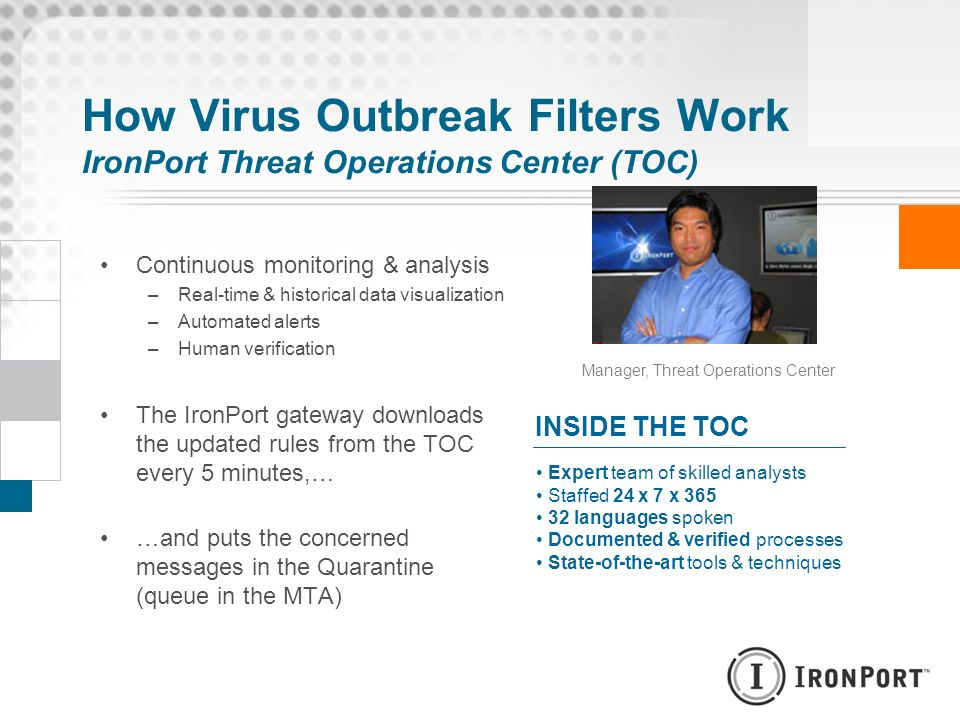 How Virus Outbreak Filters Work IronPort Threat Operations Center (TOC) Continuous monitoring & analysis –Real-time & historical data visualization –A