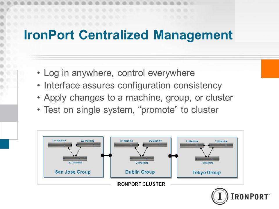 IronPort Centralized Management Log in anywhere, control everywhere Interface assures configuration consistency Apply changes to a machine, group, or