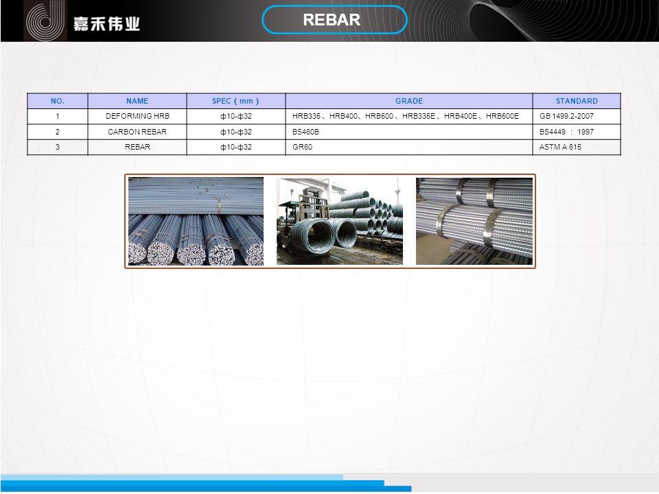 REBAR NO.NAME SPEC mm GRADESTANDARD 1DEFORMING HRBф10-ф32 HRB335 HRB400 HRB500 HRB335E HRB400E HRB500E GB 1499.2-2007 2CARBON REBARф10-ф32BS460B BS444