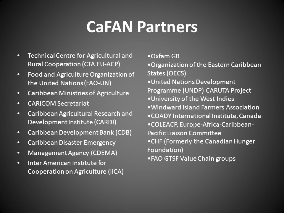 CaFAN Partners Technical Centre for Agricultural and Rural Cooperation (CTA EU-ACP) Food and Agriculture Organization of the United Nations (FAO-UN) C