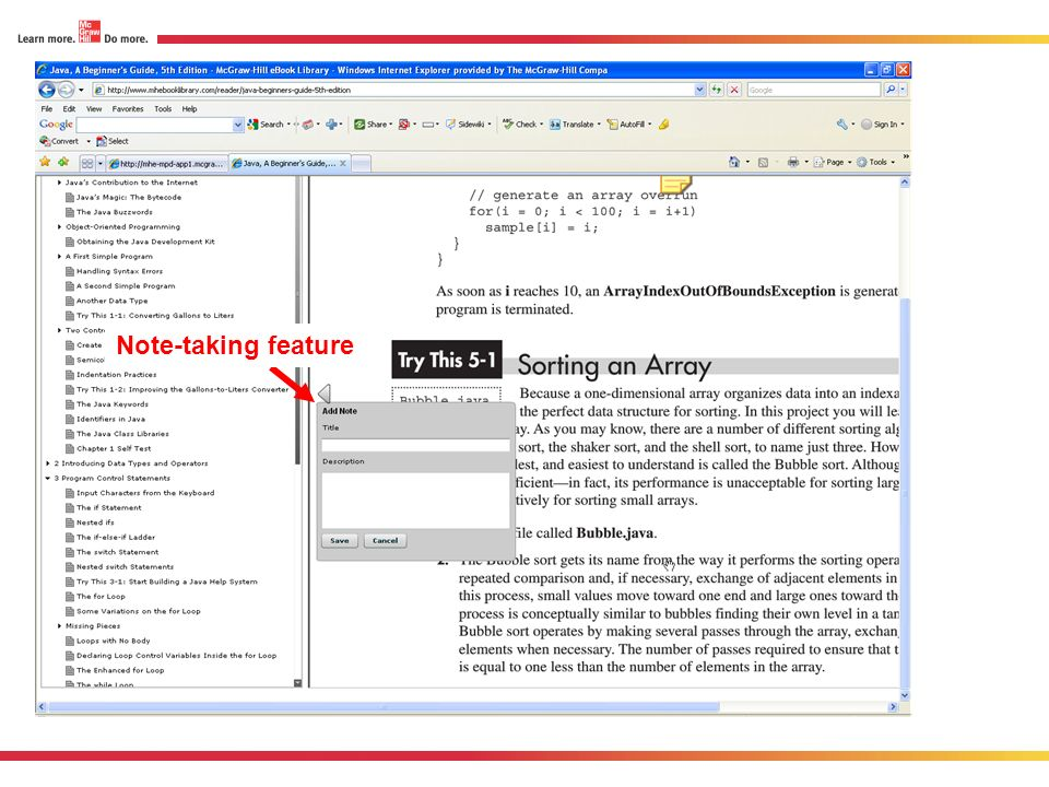 feature Note-taking feature