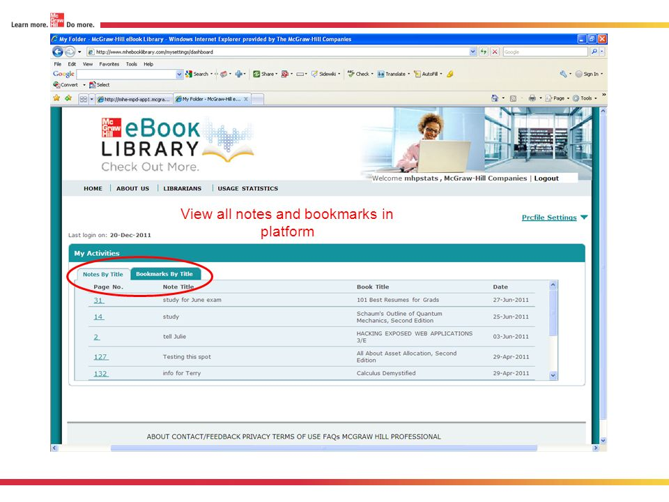 View all notes and bookmarks in platform