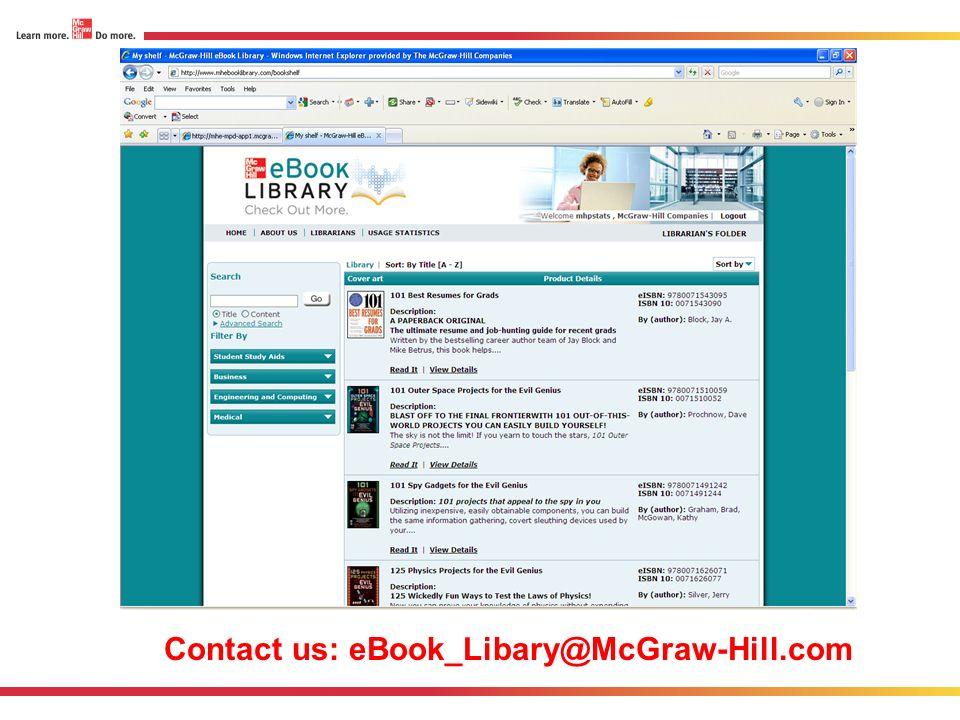 Contact us: eBook_Libary@McGraw-Hill.com