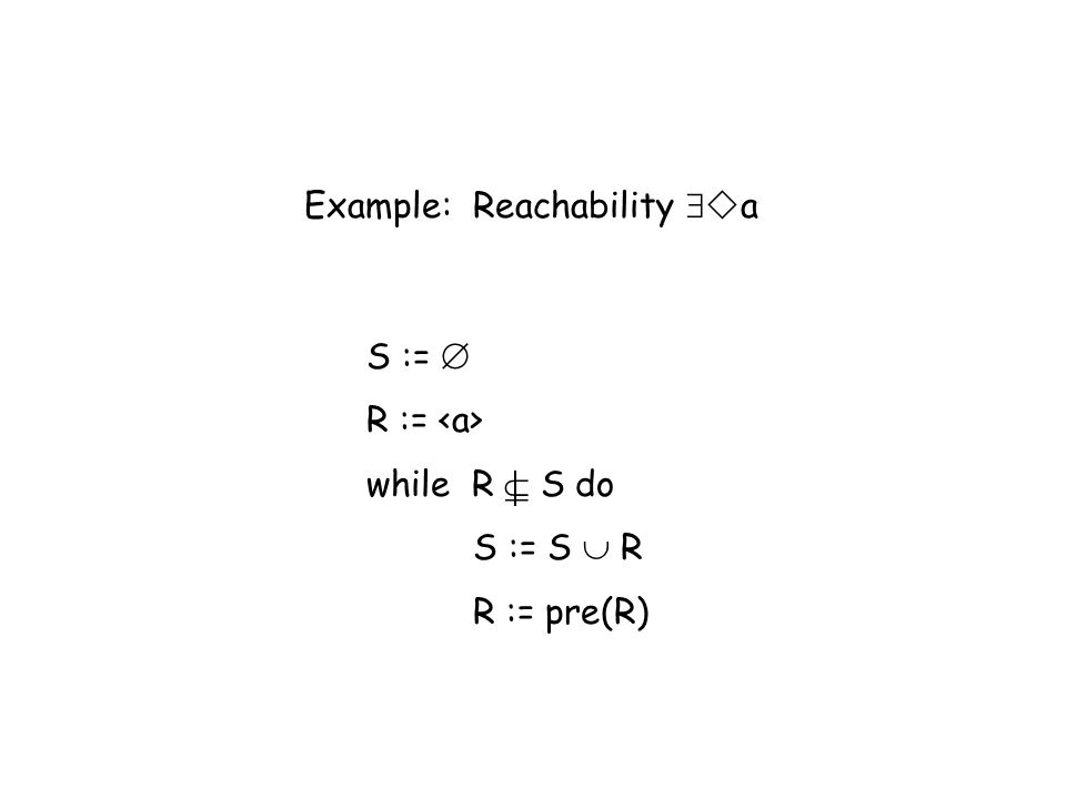 Example: Reachability a S := R := while R S do S := S R R := pre(R)
