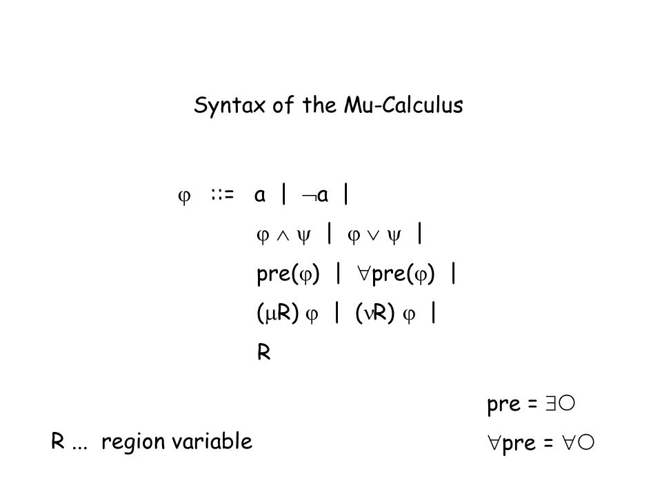 Syntax of the Mu-Calculus ::= a | a | | | pre( ) | pre( ) | ( R) | ( R) | R pre = R...