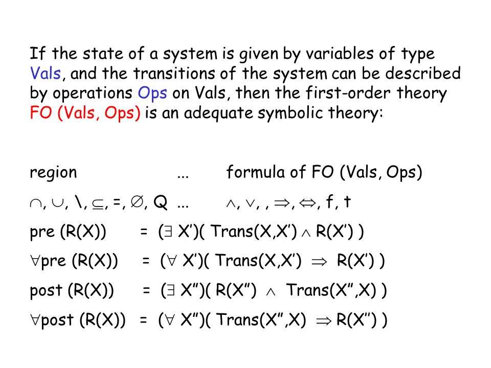 If the state of a system is given by variables of type Vals, and the transitions of the system can be described by operations Ops on Vals, then the fi