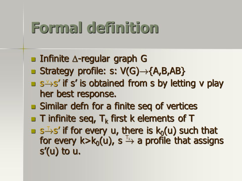 Formal definition Infinite -regular graph G Infinite -regular graph G Strategy profile: s: V(G) .