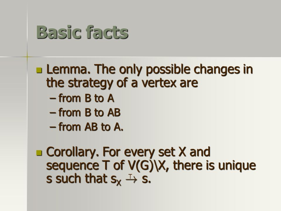 Basic facts Lemma. The only possible changes in the strategy of a vertex are Lemma. The only possible changes in the strategy of a vertex are –from B