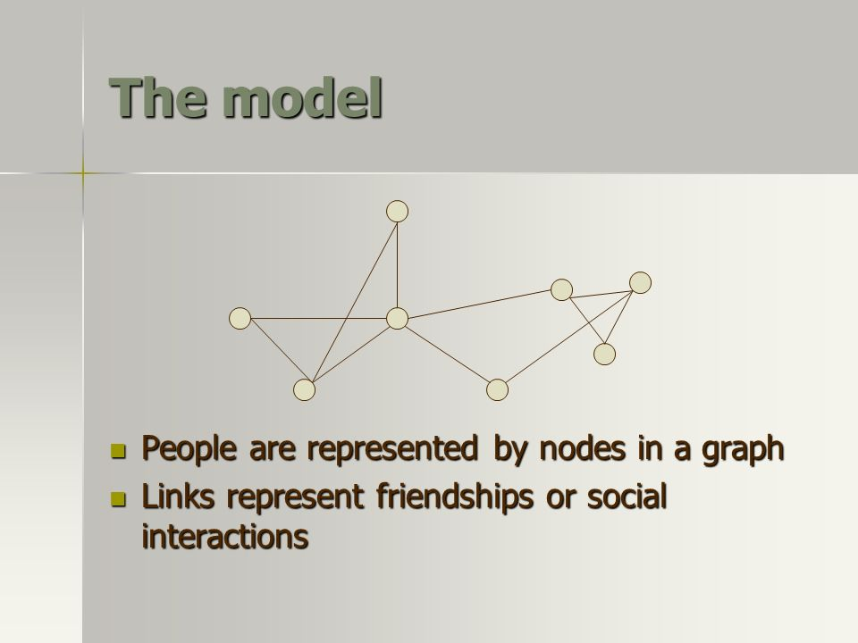 The model People are represented by nodes in a graph People are represented by nodes in a graph Links represent friendships or social interactions Lin